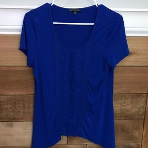 Adrianna  Papelll Royal Blue Embroidered Top